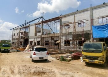 Pembangunan gedung baru Depo Arsip Provinsi Kalsel ditargetkan selesai akhir bulan November. Foto - ist