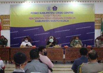 Pemkab Batola bersama Kodim 1005 Marabahan dan Polres Batola resmi umumkan Batola melanjutkan PSBB ke tahap II